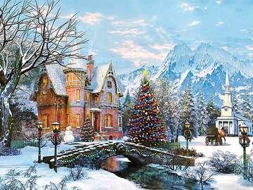 Malarstwo. - Malarstwo. Zimowy krajobraz.
