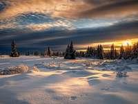 Paesaggio invernale - paesaggio invernale, tramonto
