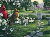 Spring landscape. - Springtime landscape with birds.