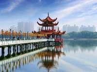 Asijské krajiny - Asijská krajina, jezero, město