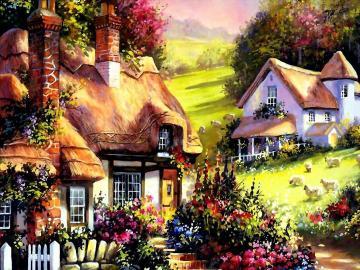 Paesaggio dipinto - Paesaggio montano dipinto Pittura. M.Mitchella. M.Mitchell