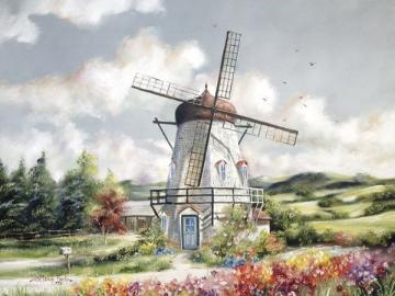 Landscape with a windmill. - Landscape with a windmill. Landscape with a white windmill. Landscape with a windmill