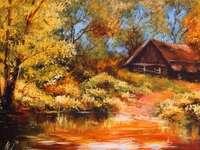 Herfst landschap met een huisje