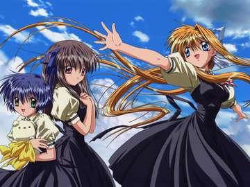 Anime Girls - Tapeta na Pulpit Księżyc Anime