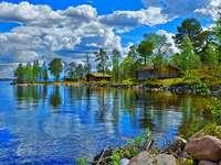 Vedere din basm - Case de vară pe lac. Vacanță, timp liber, vacanță.