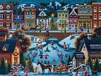 Trudne puzzle. - Układanka dla dzieci. Zimowy krajobraz. Trudne puzzle. Układanka dla dzieci..