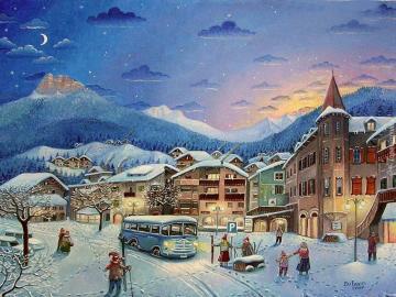 Zimowe miasteczko - Zimowe miasteczko wieczorem .