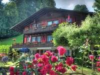 casa nas montanhas - casa nas montanhas, paisagem de verão, Suíça