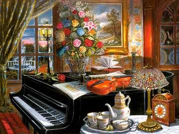Kolorowy obrazek. - Widok z pokoju na ogród. Wnętrze z fortepianem. Wnętrze z fortepianem.