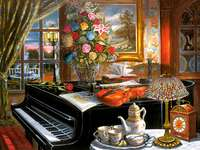 A colorful picture. - View from the garden room. Interior with a grand piano. Interior with a grand piano.