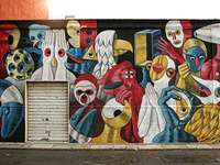 Fantasy with masks. Mural. - Fantasy with masks. Mural.