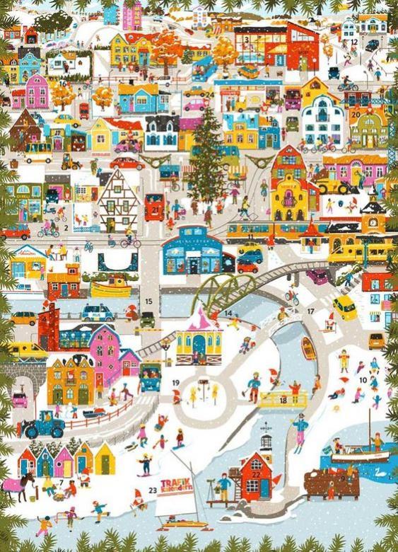 winter town - city winter season illustration (11×15)