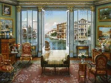 Venetian interior. - Building. Venetian interior.