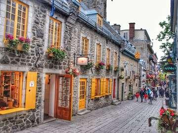 Canadá - Quebec - Calle pintoresca en Quebec