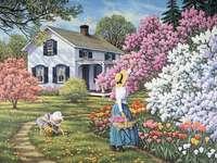 Spring in the garden - spring in the garden, blooming lilacs, home, garden
