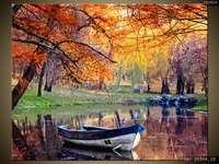 Boot op de vijver, Herfstbladeren