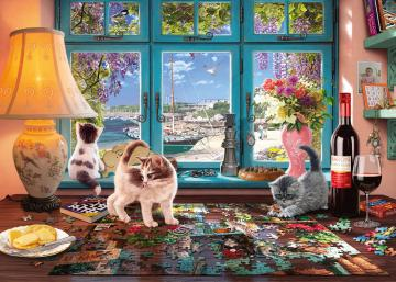 Difficult puzzle. - Difficult puzzle with cats.