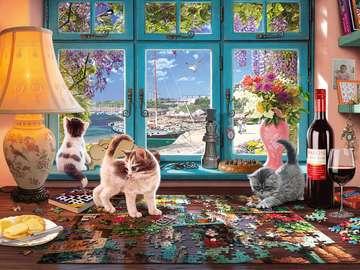 Puzzle difficile. - Difficile puzzle con i gatti.