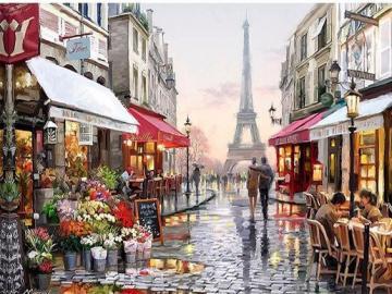 Spacer w Paryżu - uliczka Paryża, ilustracja
