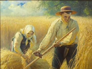 Agricultural landscape. - Adam Ciemieniewski. Harvest.