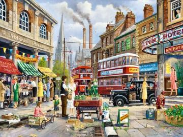 ruch uliczny - ruch na angielskiej ulicy, ilustracja