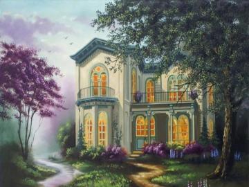 Villa in the garden. - Landscape. Villa in the garden.