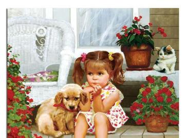A girl with a pet. - A girl in front of the house with a dog.