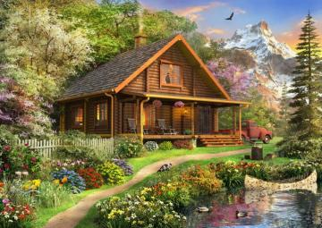 House in mountains. - Landscape. House in mountains.