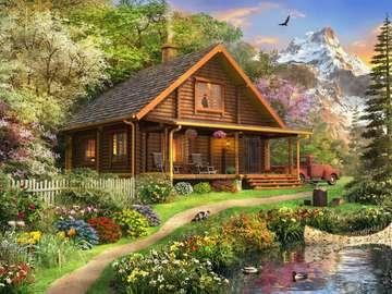 Domek w górach. - Krajobraz. Domek w górach.