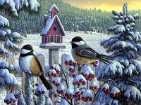 Vogels in een winterlandschap. - Schilderij. Schilderen. Vogels in de winter bij karmiku.