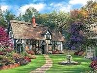 in de zomertuin - in de zomertuin, bloemen, fontein, bank