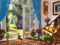 Uitzicht op een prachtige tuin. - Muziekkamer met toegang tot de tuin. Widok na piękny ogród.