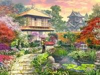 japoński ogród - japoński ogród , kwitnące drzewa , kwiaty