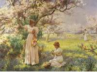 Girls in the orchard.