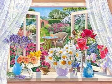 Des fleurs à la fenêtre. - Widoczek. Des fleurs à la fenêtre.