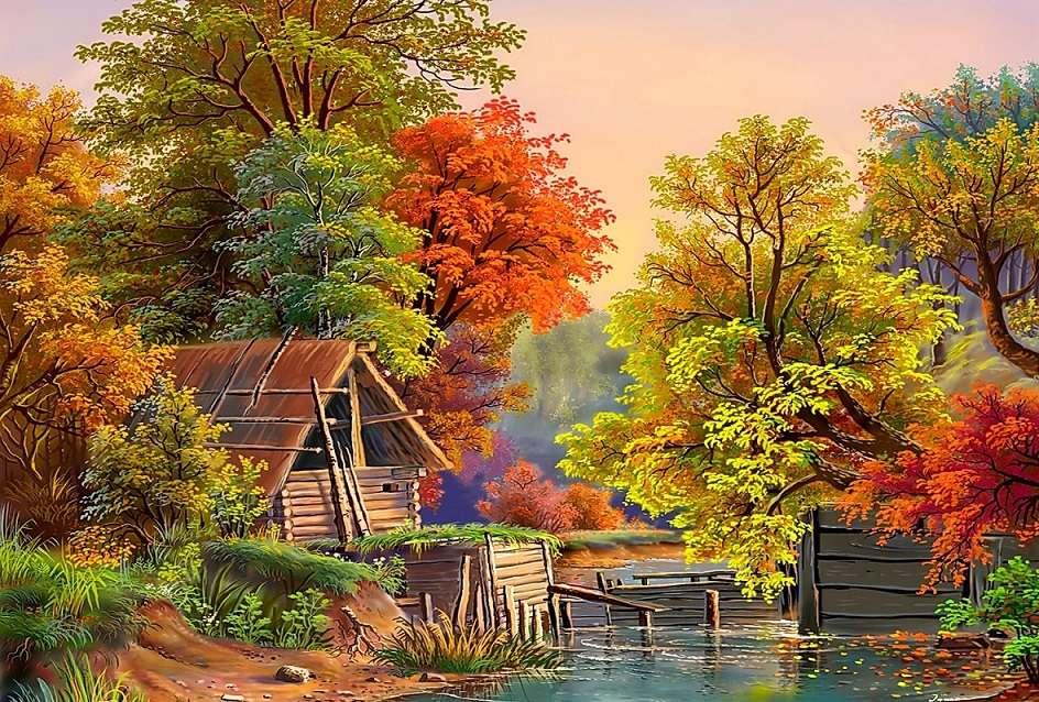Schilderen. Herfst bij de vijver. herfstbladeren - Schilderen. Herfst bij de vijver. Herfstbladeren, herfstbladeren (11×9)