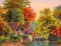 Ζωγραφική. Φθινόπωρο δίπλα στη λίμνη. φθινοπωρινά φύλλα.