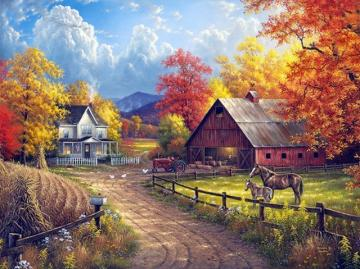 Rural landscape. - A beautiful rural landscape. Painting: autumn in the countryside. Painting: autumn in the countrysid