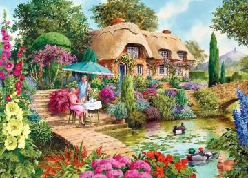 Relax in the garden - Relax in the garden under an umbrella, flowers, pond