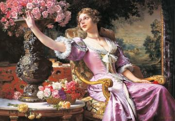 A woman in a pink dress. - Painting. A woman in a pink dress.