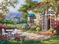 Patio in front of the house. - Painting. Landscape. Patio in front of the house. Painting. Summer in the garden.