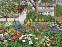 Fleurs peintes dans le jardin. - Fleurs peintes dans le jardin.