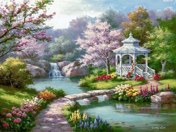 gazebo in the garden - gazebo in the garden, blooming trees, flowers, small river