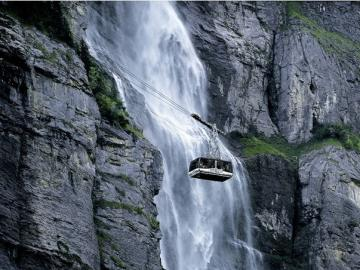 Mountain landscape - Mountain landscape with a cable car.