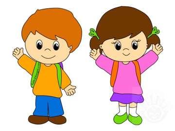 Bambini scomposti - immagine che raffigura due bambini, da utilizzare in classe e a casa per la percezione dello schema