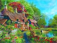 Uma casa colorida.