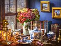 Charming interior. - Time for evening tea. Building. Charming interior.