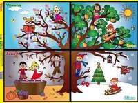 """Pory roku dla dzieci - Puzzle """"Pory roku"""" dla dzieci w wieku przedszkolnym."""
