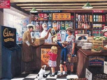 Nel negozio di alimentari - Nel negozio di alimentari, illustrazione d'epoca