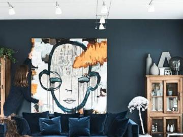 The original living room - You do not have an idea for a salon? This is one of the inspirations. The original, dark blue living
